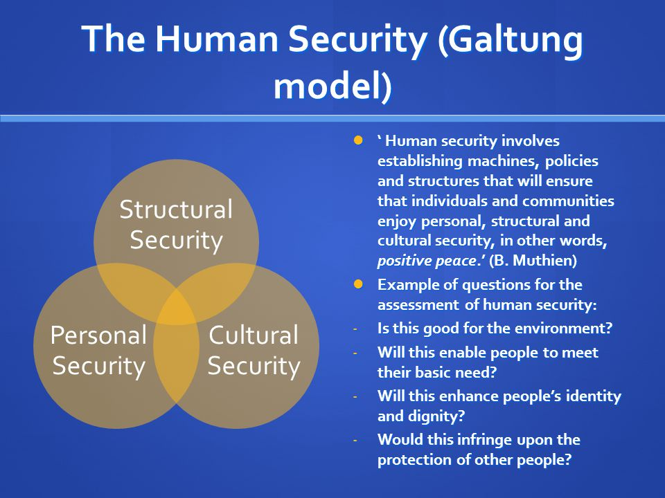 The Human Security (Galtung model) Structural Security Cultural Security Personal Security ' Human security involves establishing machines, policies and structures that will ensure that individuals and communities enjoy personal, structural and cultural security, in other words, positive peace.' (B.