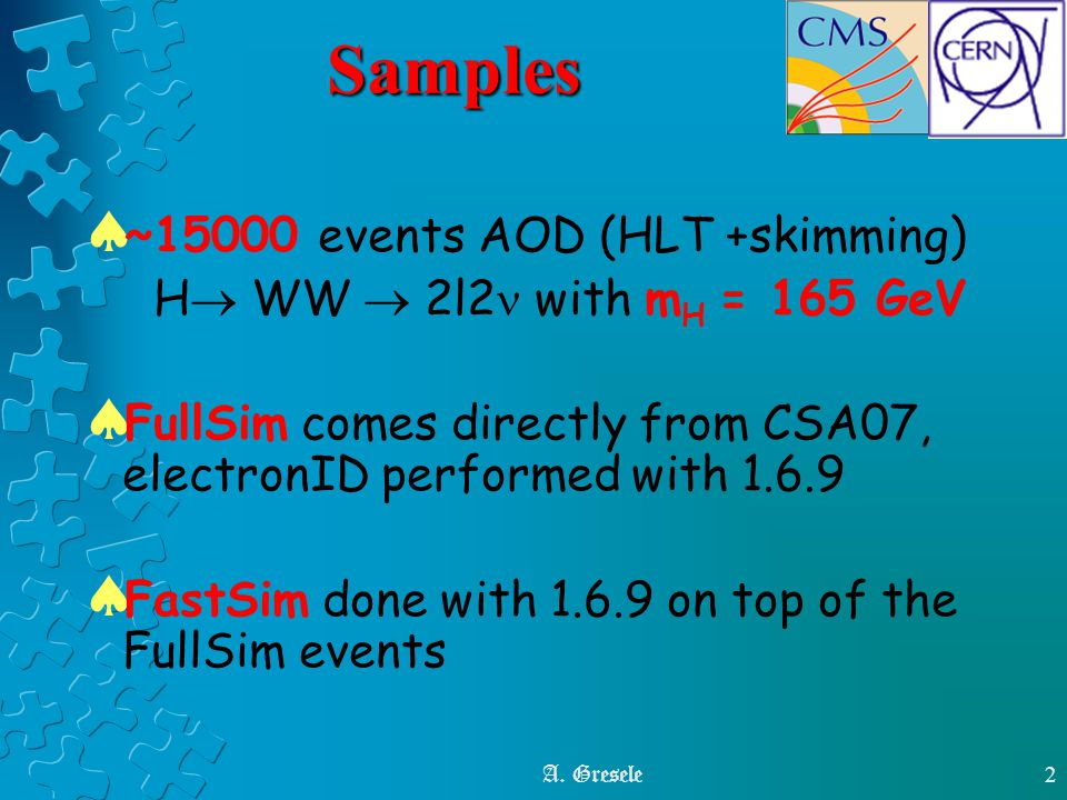 A. Gresele2Samples  ~15000 events AOD (HLT +skimming) H  WW  2l2 with m H = 165 GeV  FullSim comes directly from CSA07, electronID performed with