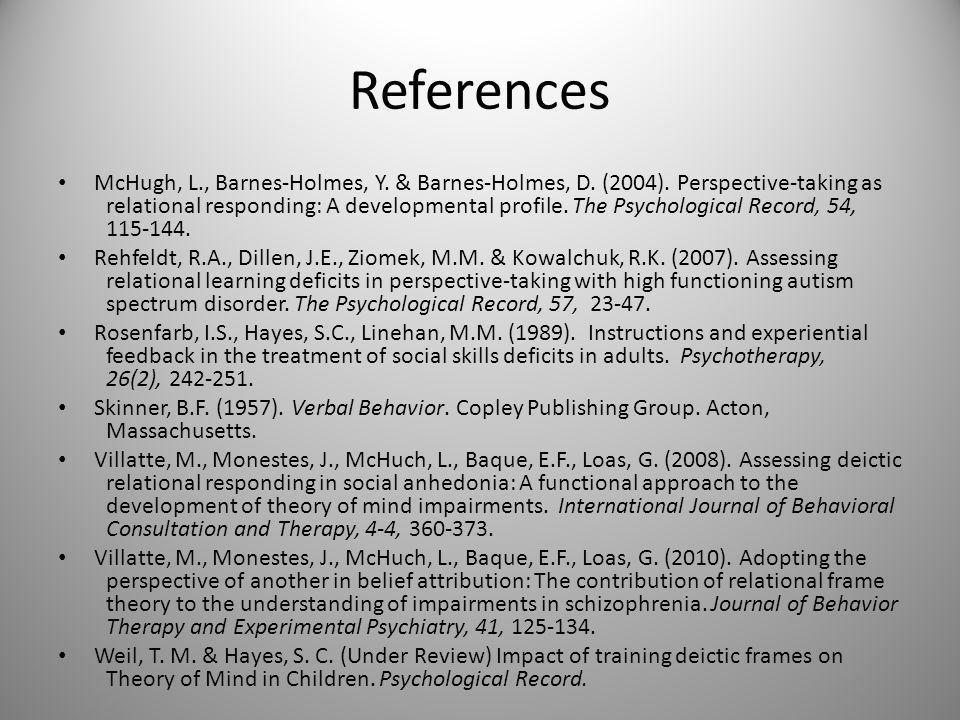 References McHugh, L., Barnes-Holmes, Y. & Barnes-Holmes, D.