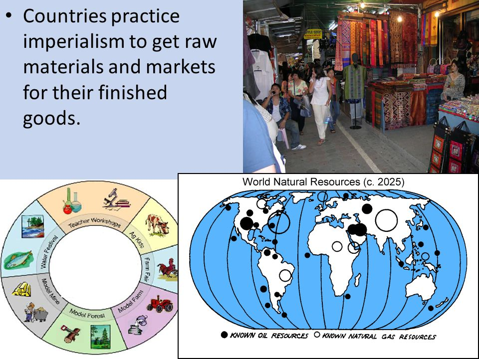 Countries practice imperialism to get raw materials and markets for their finished goods.
