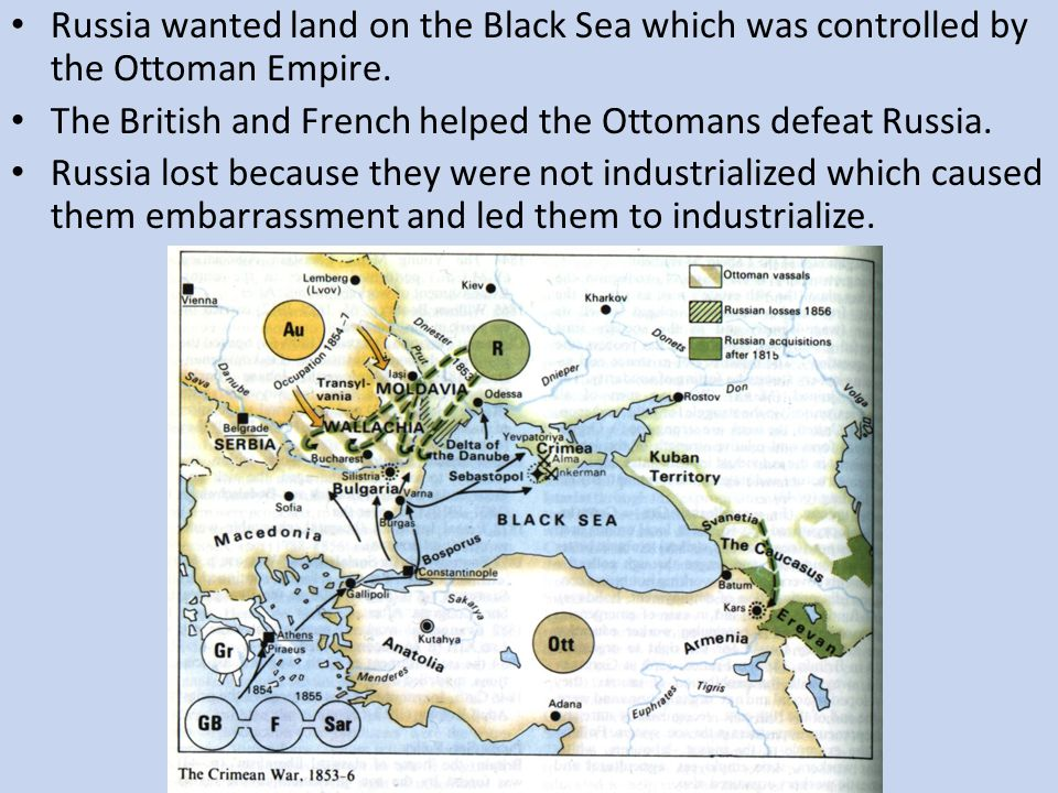 Russia wanted land on the Black Sea which was controlled by the Ottoman Empire. The British and French helped the Ottomans defeat Russia. Russia lost