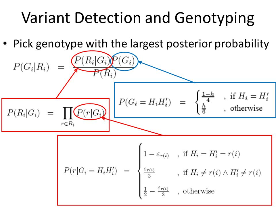 Variant Detection and Genotyping Pick genotype with the largest posterior probability