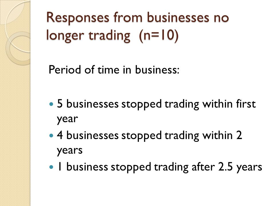 Responses from businesses no longer trading (n=10) Period of time in business: 5 businesses stopped trading within first year 4 businesses stopped tra