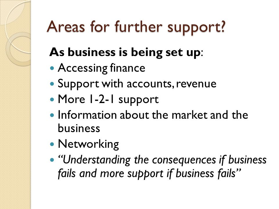 Areas for further support? As business is being set up: Accessing finance Support with accounts, revenue More 1-2-1 support Information about the mark