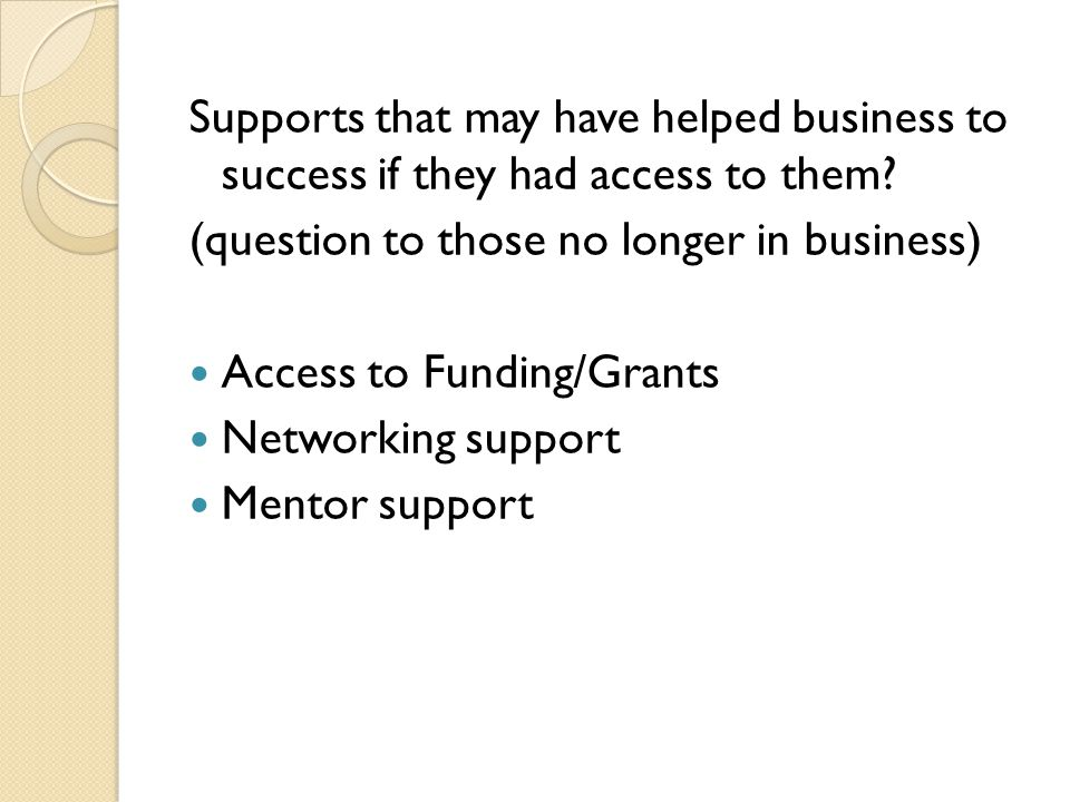 Supports that may have helped business to success if they had access to them? (question to those no longer in business) Access to Funding/Grants Netwo