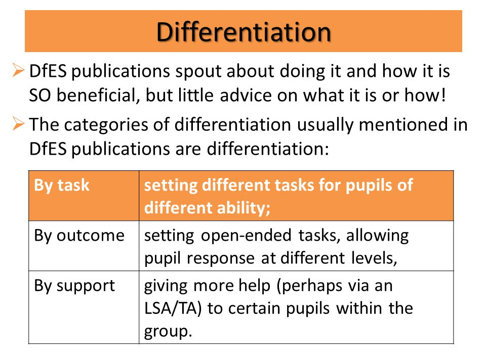 Differentiating instruction means creating multiple paths so that students of different abilities, interest or learning needs experience equally appropriate ways to; absorb absorb use use develop develop and present and present concepts as a part of the daily learning process.