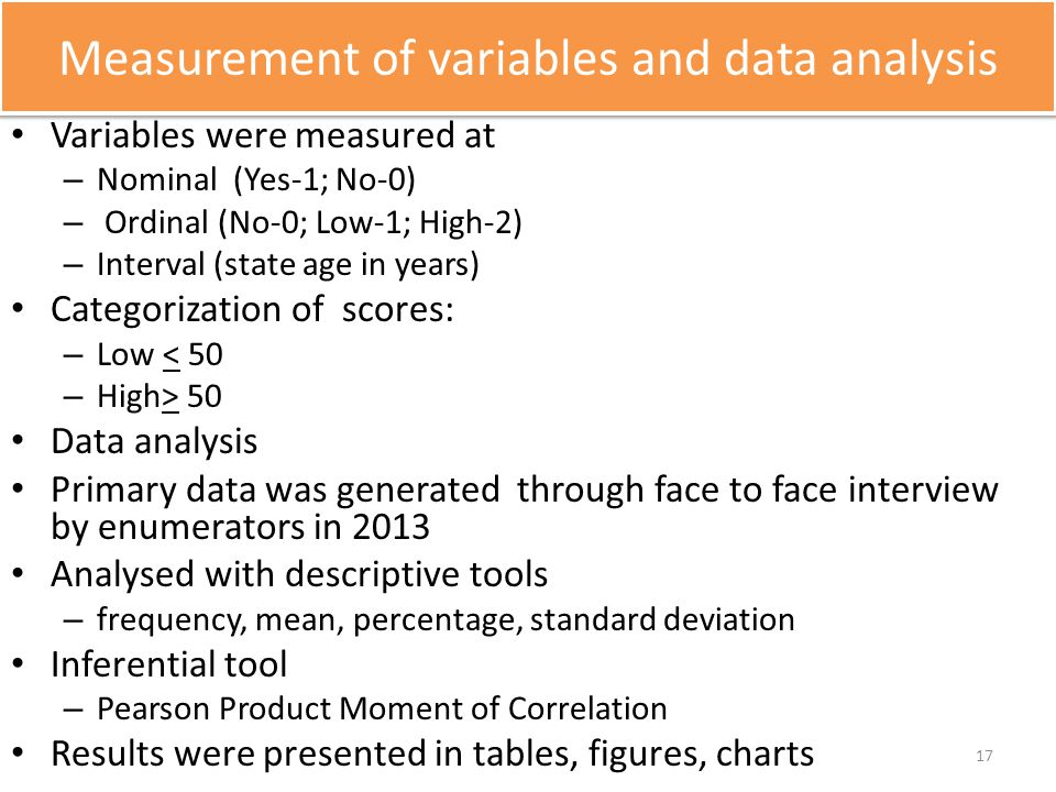 Measurement of variables and data analysis Variables were measured at – Nominal (Yes-1; No-0) – Ordinal (No-0; Low-1; High-2) – Interval (state age in
