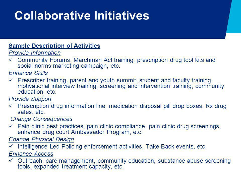 Sample Description of Activities Provide Information Community Forums, Marchman Act training, prescription drug tool kits and social norms marketing c