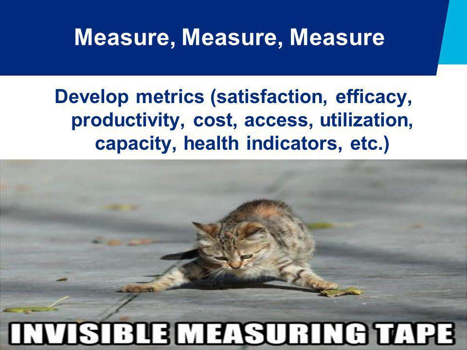 Measure, Measure, Measure Develop metrics (satisfaction, efficacy, productivity, cost, access, utilization, capacity, health indicators, etc.)
