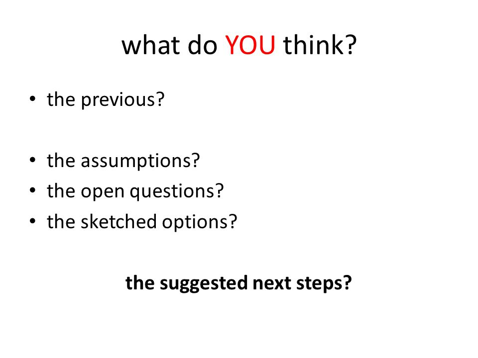 what do YOU think? the previous? the assumptions? the open questions? the sketched options? the suggested next steps?