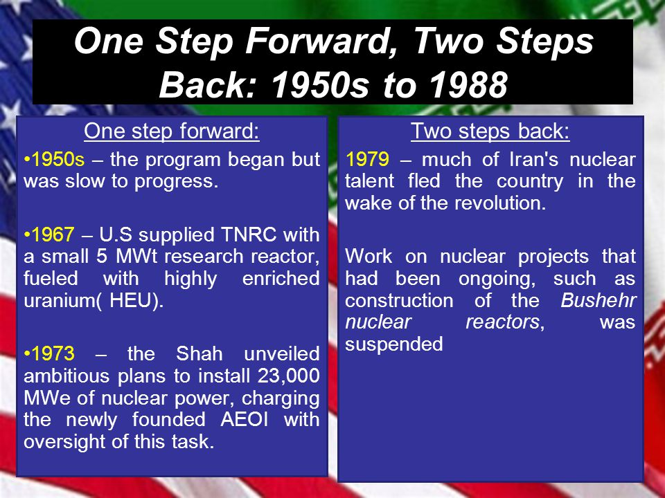 One Step Forward, Two Steps Back: 1950s to 1988 One step forward: 1950s – the program began but was slow to progress. 1967 – U.S supplied TNRC with a