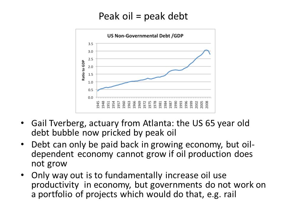 Peak oil = peak debt Gail Tverberg, actuary from Atlanta: the US 65 year old debt bubble now pricked by peak oil Debt can only be paid back in growing economy, but oil- dependent economy cannot grow if oil production does not grow Only way out is to fundamentally increase oil use productivity in economy, but governments do not work on a portfolio of projects which would do that, e.g.