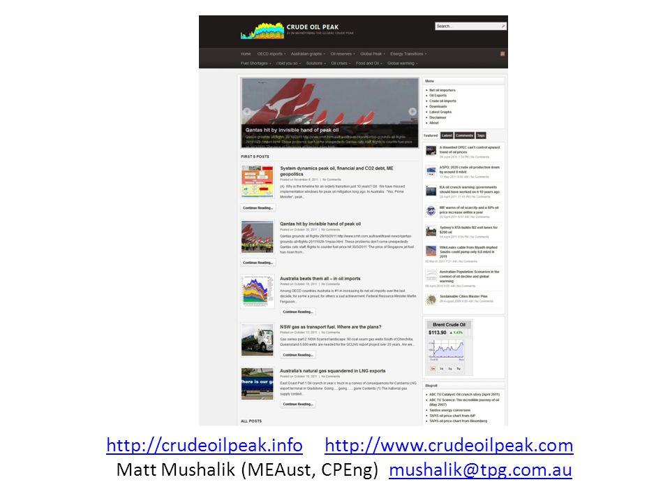 http://crudeoilpeak.infohttp://crudeoilpeak.info http://www.crudeoilpeak.comhttp://www.crudeoilpeak.com Matt Mushalik (MEAust, CPEng) mushalik@tpg.com