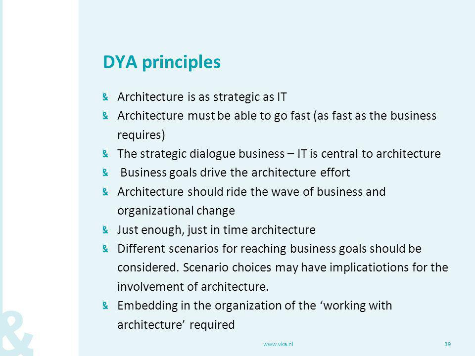 DYA principles Architecture is as strategic as IT Architecture must be able to go fast (as fast as the business requires) The strategic dialogue busin