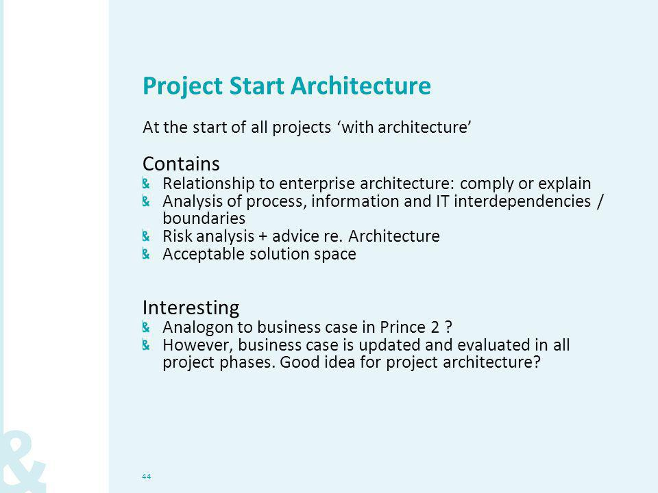 44 Project Start Architecture At the start of all projects 'with architecture' Contains Relationship to enterprise architecture: comply or explain Ana