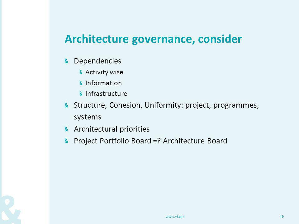 Architecture governance, consider Dependencies Activity wise Information Infrastructure Structure, Cohesion, Uniformity: project, programmes, systems Architectural priorities Project Portfolio Board =.