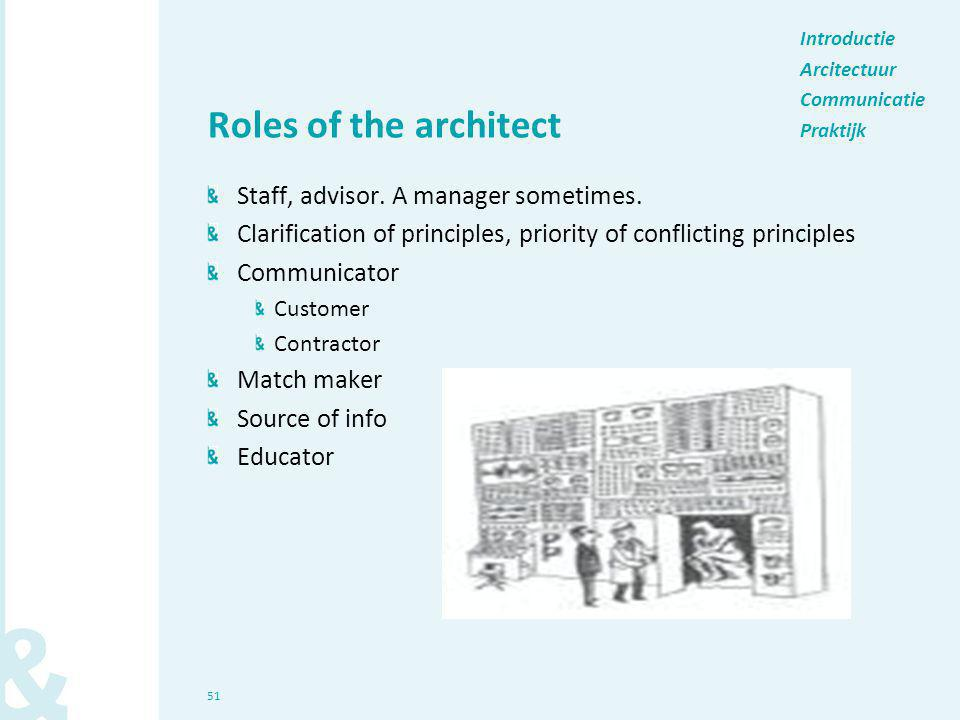 51 Roles of the architect Staff, advisor. A manager sometimes. Clarification of principles, priority of conflicting principles Communicator Customer C