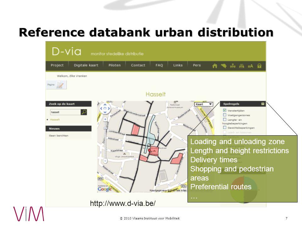 © 2010 Vlaams Instituut voor Mobiliteit Model for bundeling of goods 8 2 pilots : Hasselt and Gent