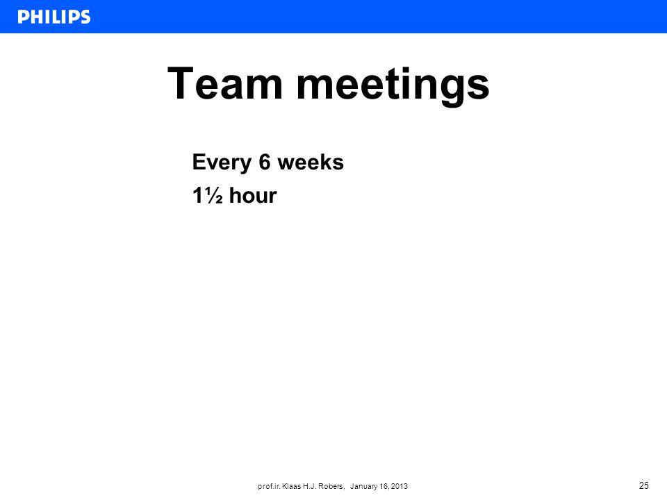 prof.ir. Klaas H.J. Robers, January 16, 2013 Team meetings 25 Every 6 weeks 1½ hour