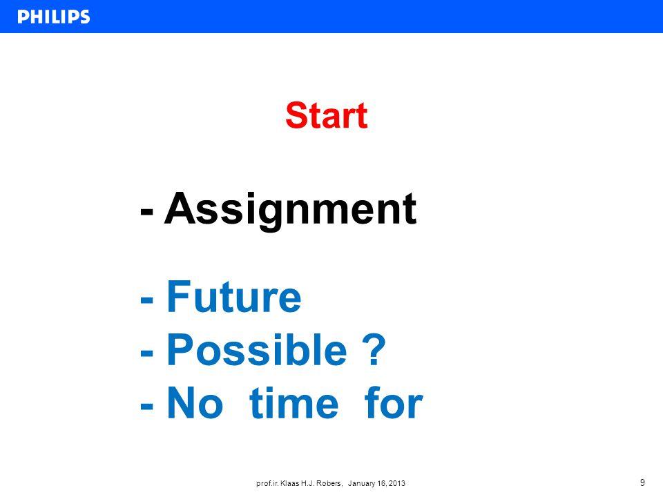 prof.ir. Klaas H.J. Robers, January 16, 2013 Start 9 - Assignment - Future - Possible .