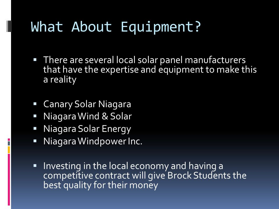 What About Equipment.