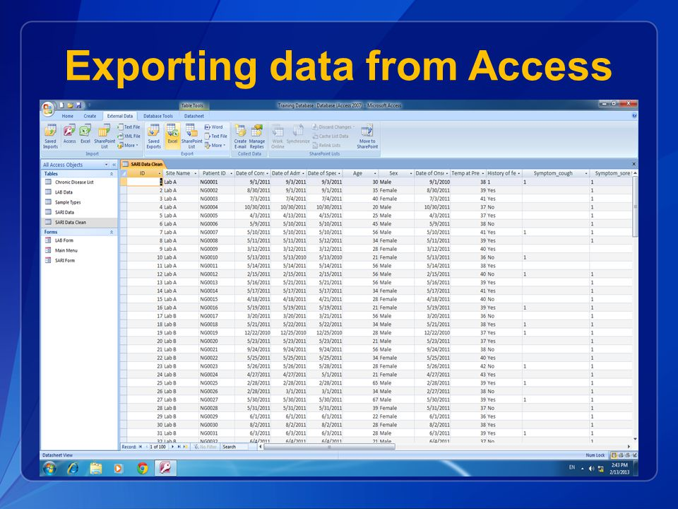 Exporting data from Access