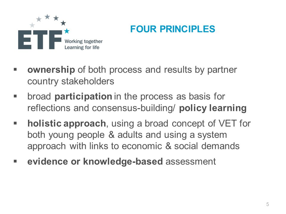 5 FOUR PRINCIPLES  ownership of both process and results by partner country stakeholders  broad participation in the process as basis for reflections and consensus-building/ policy learning  holistic approach, using a broad concept of VET for both young people & adults and using a system approach with links to economic & social demands  evidence or knowledge-based assessment