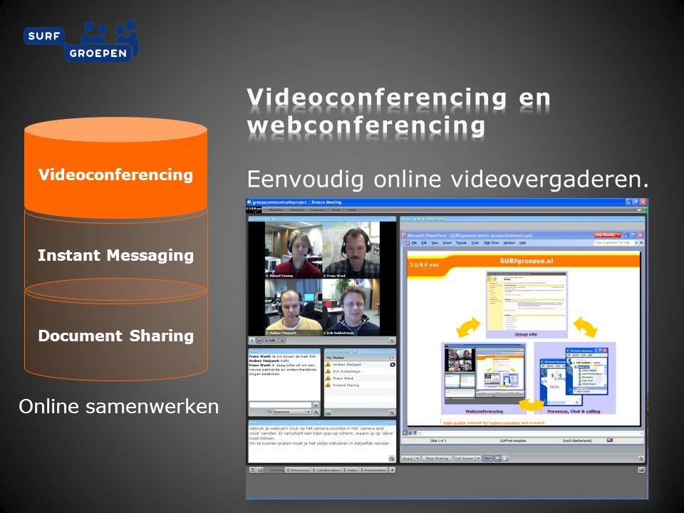 Document Sharing Instant Messaging Videoconferencing Online samenwerken