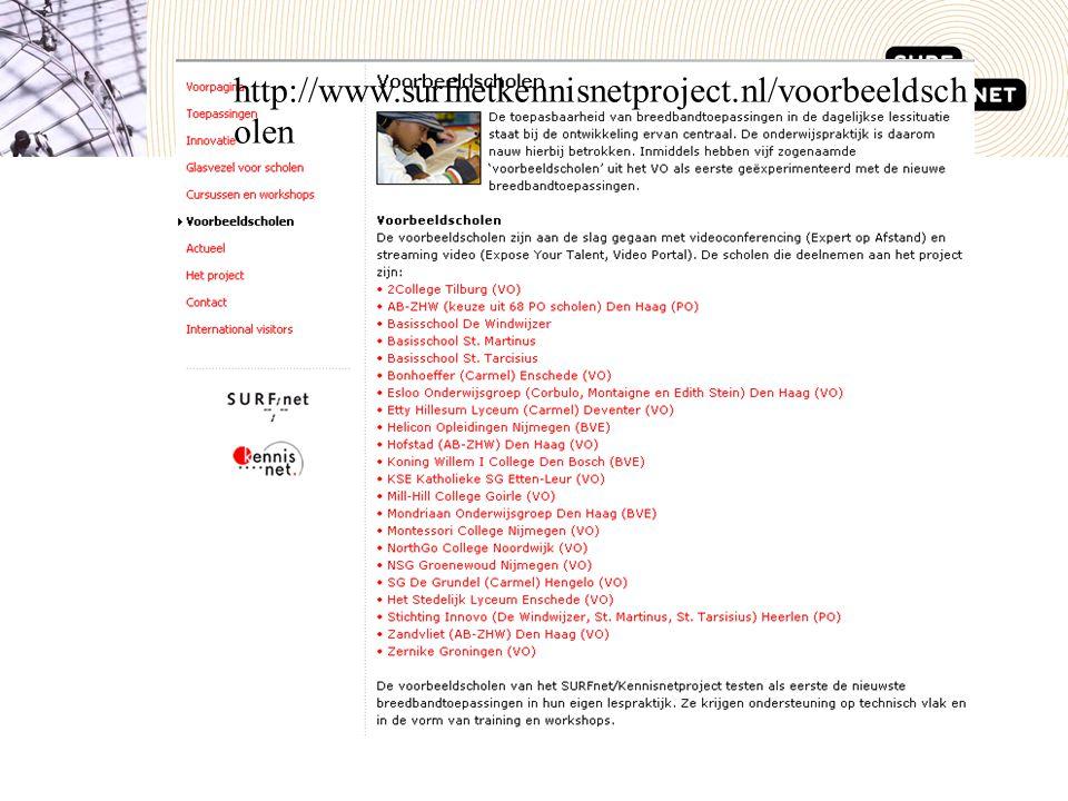 http://www.surfnetkennisnetproject.nl/voorbeeldsch olen