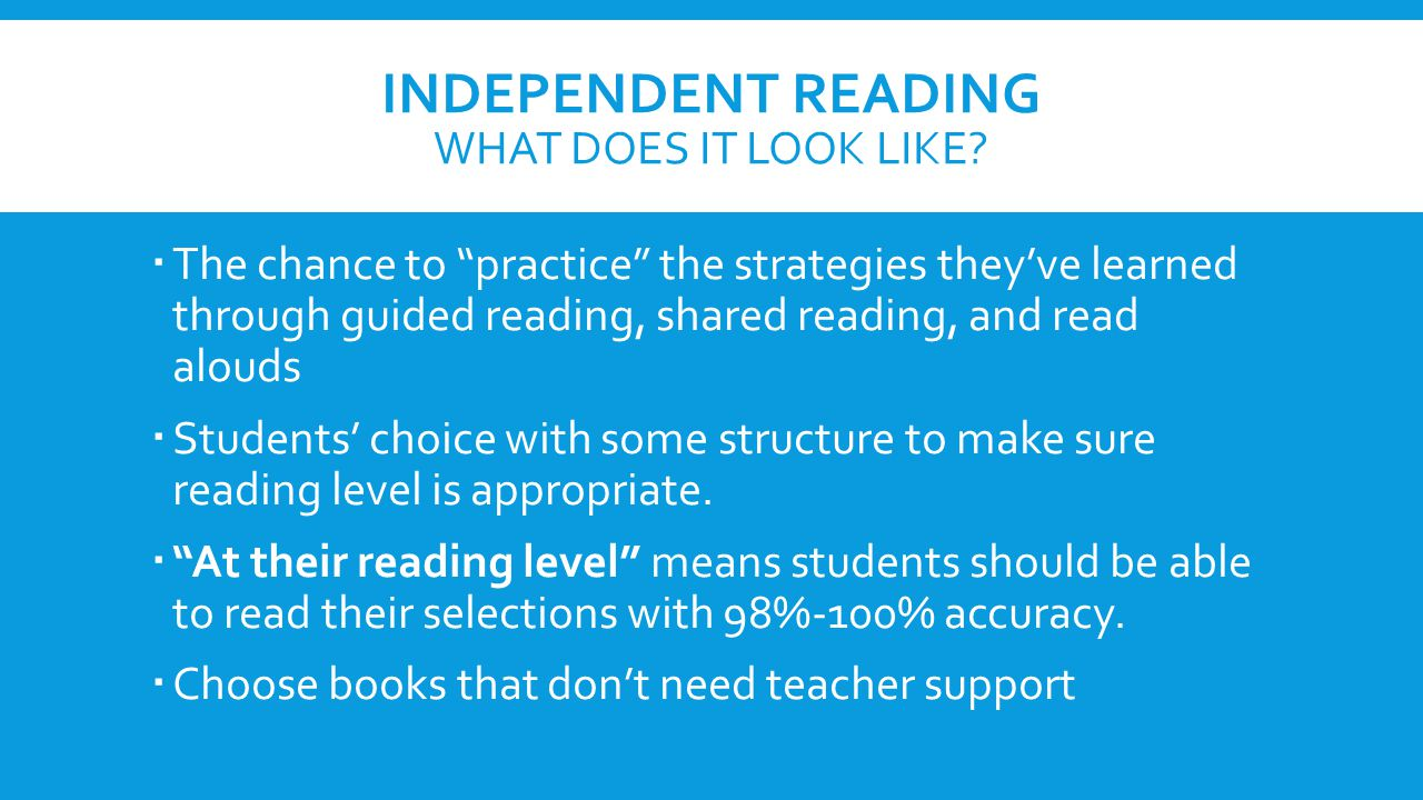 INDEPENDENT READING WHAT DOES IT LOOK LIKE.