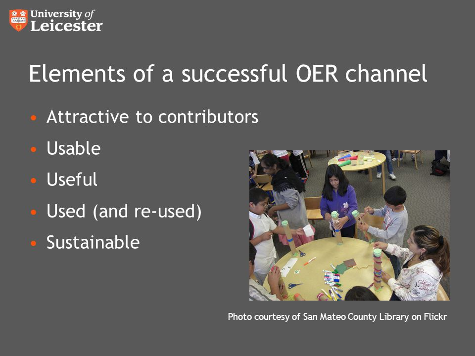 Elements of a successful OER channel Attractive to contributors Usable Useful Used (and re-used) Sustainable Photo courtesy of San Mateo County Librar