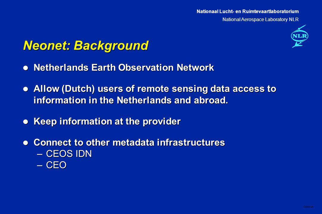 Nationaal Lucht- en Ruimtevaartlaboratorium National Aerospace Laboratory NLR CXXX-6A Neonet nodes A Neonet node is a website with supporting software.