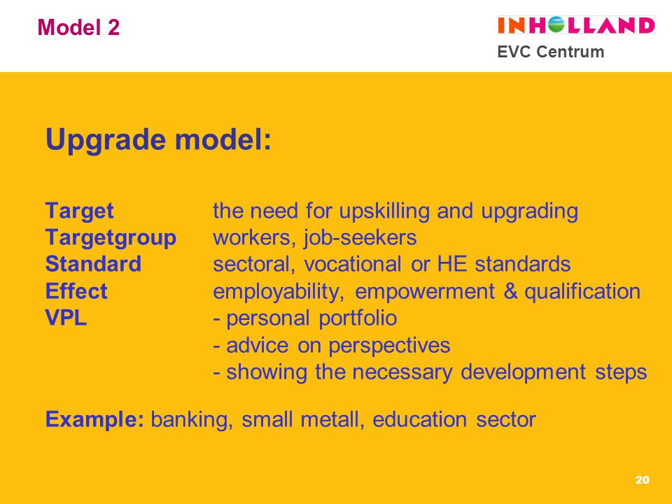 EVC Centrum 20 Model 2 Upgrade model: Targetthe need for upskilling and upgrading Targetgroupworkers, job-seekers Standardsectoral, vocational or HE standards Effectemployability, empowerment & qualification VPL - personal portfolio - advice on perspectives - showing the necessary development steps Example: banking, small metall, education sector