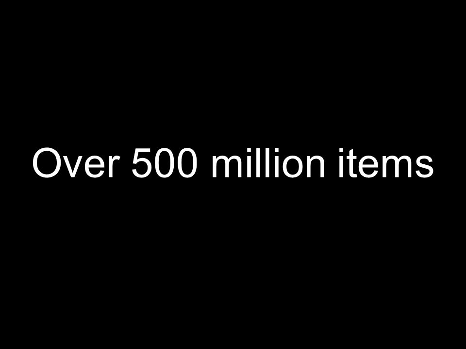 Over 500 million items