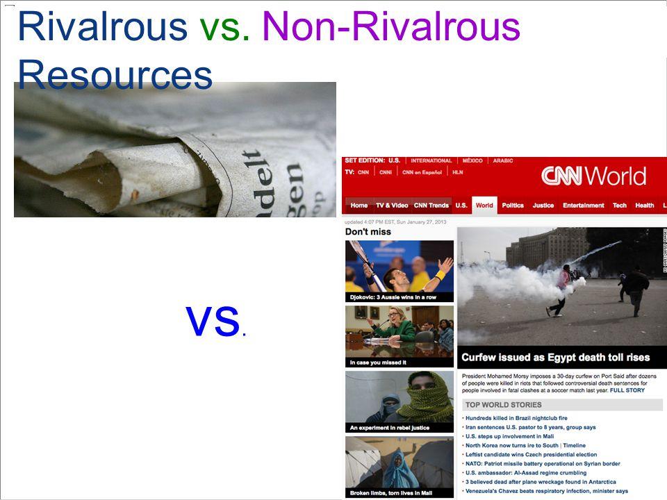 vs. Rivalrous vs. Non-Rivalrous Resources