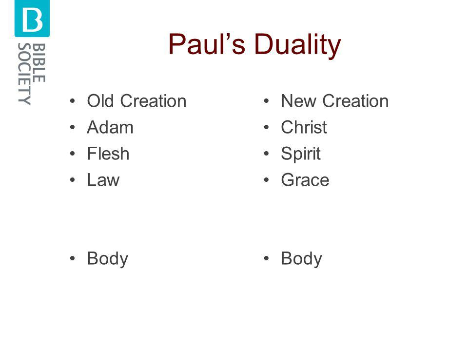 Paul's Duality Old Creation Adam Flesh Law Body New Creation Christ Spirit Grace Body