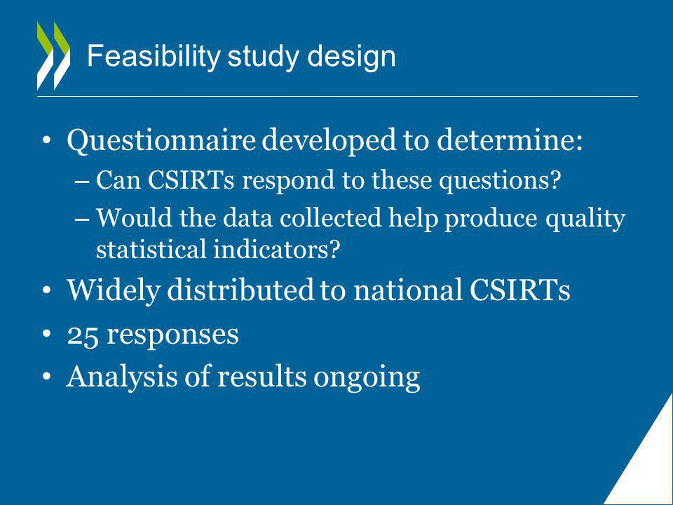 Feasibility study design Questionnaire developed to determine: – Can CSIRTs respond to these questions.