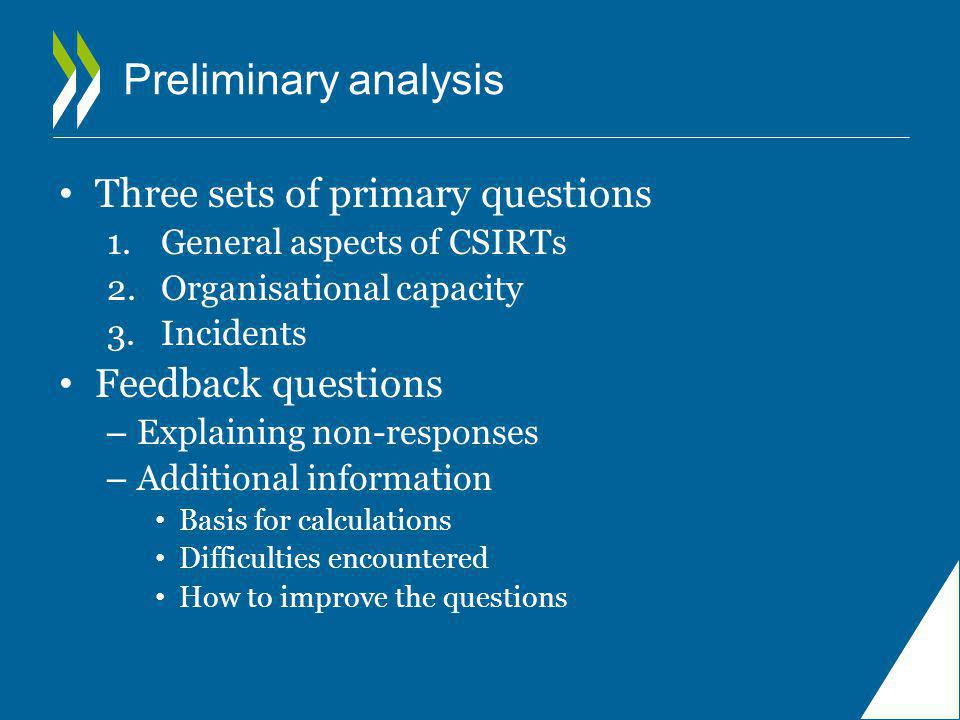 Preliminary analysis Three sets of primary questions 1.General aspects of CSIRTs 2.Organisational capacity 3.Incidents Feedback questions – Explaining non-responses – Additional information Basis for calculations Difficulties encountered How to improve the questions