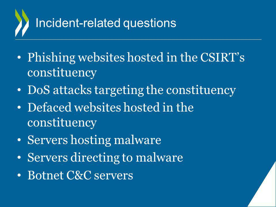 Incident-related questions Phishing websites hosted in the CSIRT's constituency DoS attacks targeting the constituency Defaced websites hosted in the constituency Servers hosting malware Servers directing to malware Botnet C&C servers