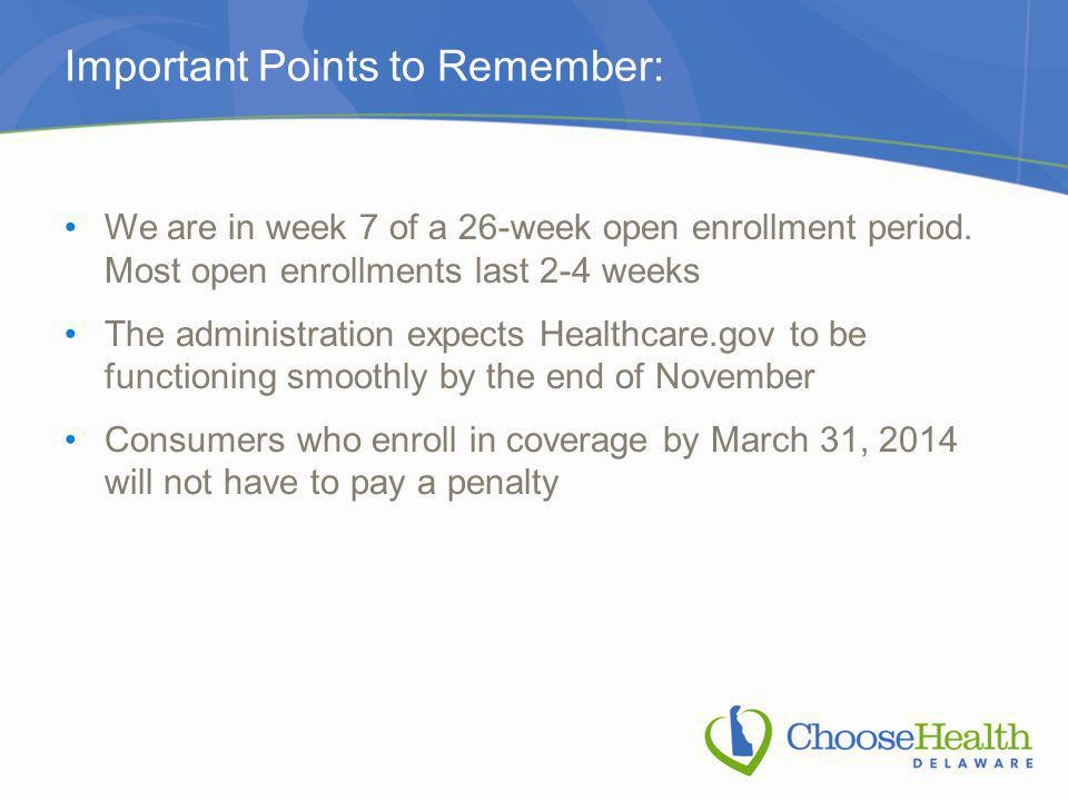 Important Points to Remember: We are in week 7 of a 26-week open enrollment period.