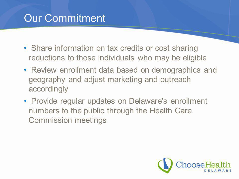 Our Commitment Share information on tax credits or cost sharing reductions to those individuals who may be eligible Review enrollment data based on demographics and geography and adjust marketing and outreach accordingly Provide regular updates on Delaware's enrollment numbers to the public through the Health Care Commission meetings