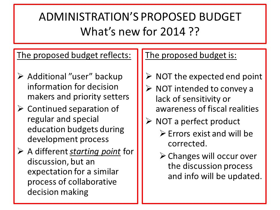 ADMINISTRATION'S PROPOSED BUDGET What's new for 2014 .