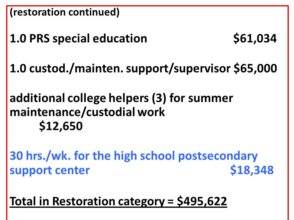 (restoration continued) 1.0 PRS special education $61,034 1.0 custod./mainten.