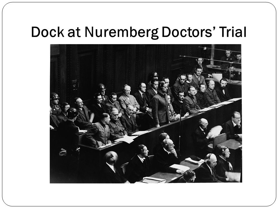 Dock at Nuremberg Doctors' Trial