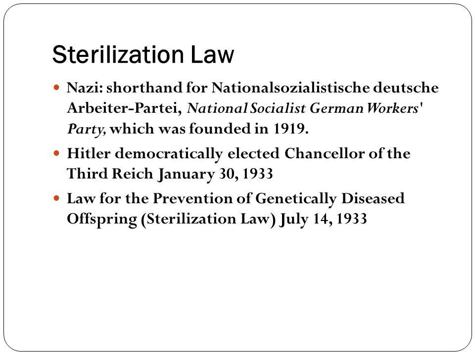Sterilization Law Nazi: shorthand for Nationalsozialistische deutsche Arbeiter-Partei, National Socialist German Workers' Party, which was founded in