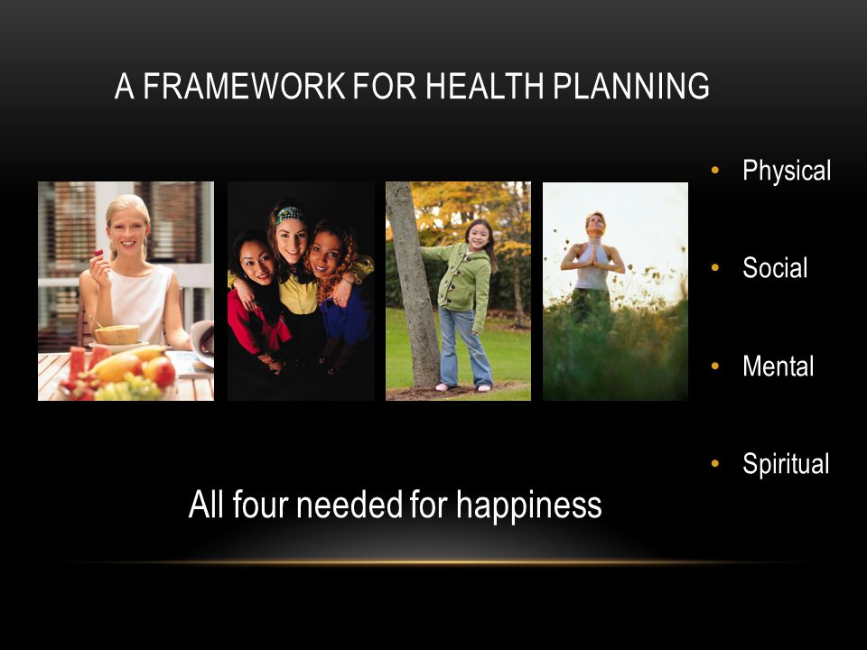 A FRAMEWORK FOR HEALTH PLANNING Physical Social Mental Spiritual All four needed for happiness