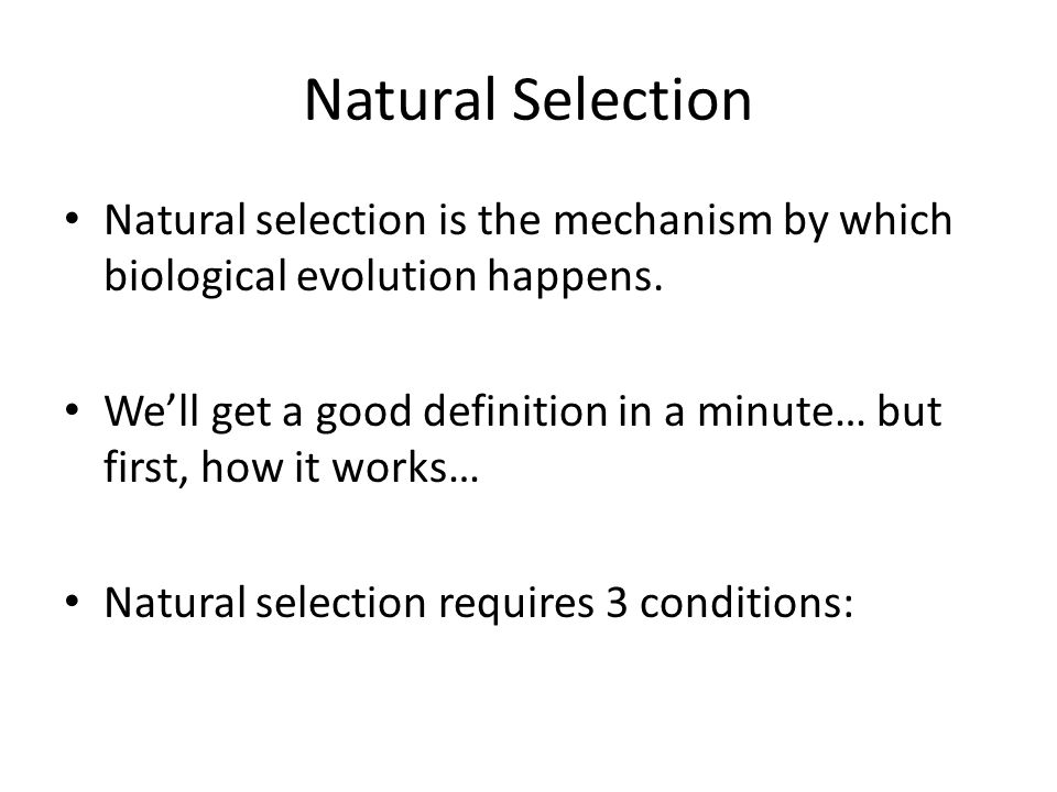 Natural Selection Natural selection is the mechanism by which biological evolution happens.