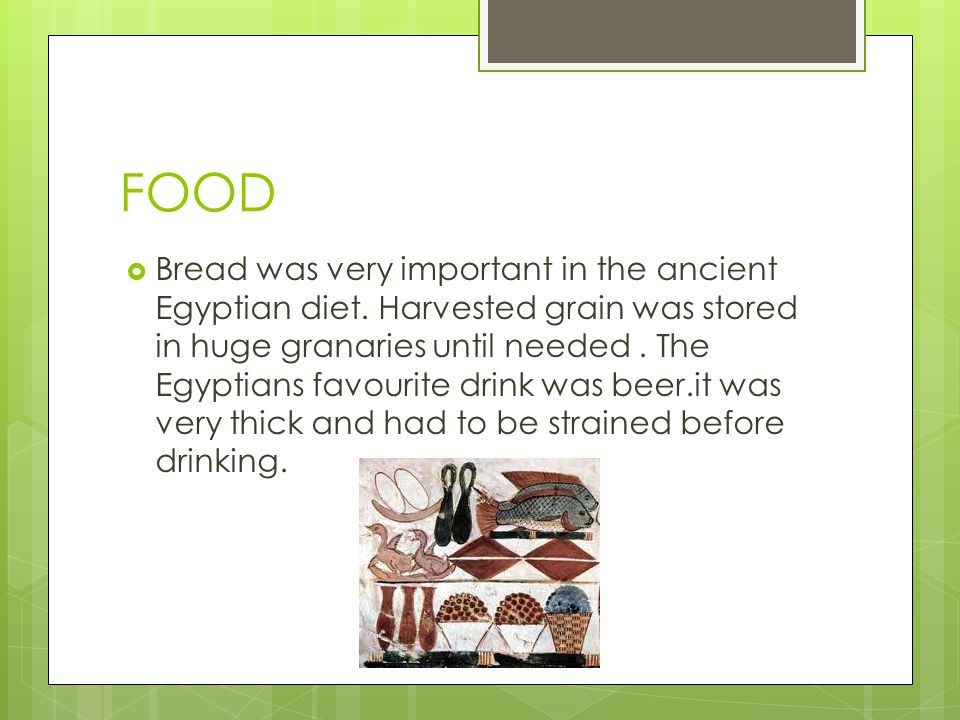 FOOD  Bread was very important in the ancient Egyptian diet.