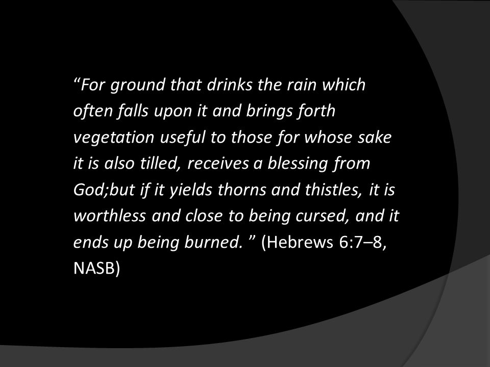 """For ground that drinks the rain which often falls upon it and brings forth vegetation useful to those for whose sake it is also tilled, receives a bl"