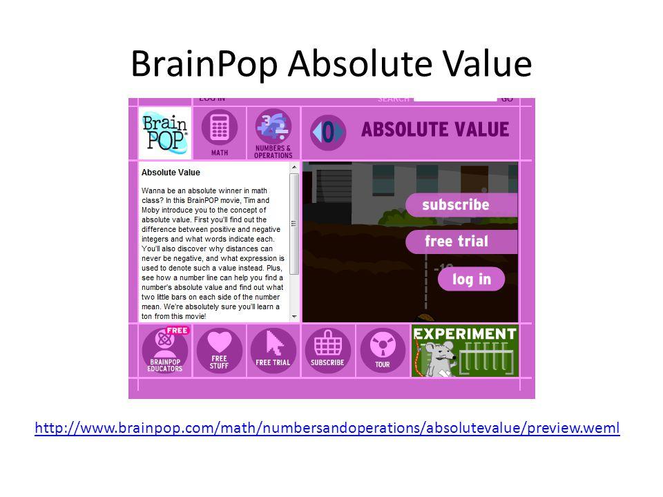 BrainPop Absolute Value http://www.brainpop.com/math/numbersandoperations/absolutevalue/preview.weml